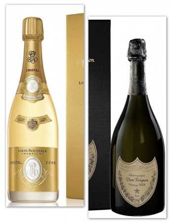 Champagne Package 2 Giftbox 2008 Dom Pérignon & Cristal Roederer - 2 x 75 cl CHF404,00 Champagne
