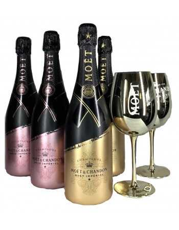 Moët & Chandon Package SIGNATURE 2 Gold Ceramic Glasses & 2 Rosé + 2 Brut - 4 x 75 CL CHF 259,60 Moët & Chandon