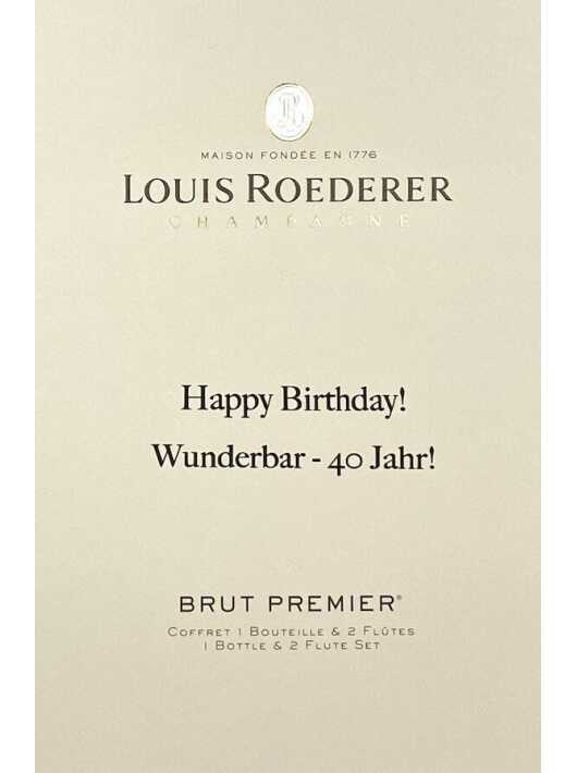 Louis Roederer LOUIS ROEDERER BRUT PREMIER 75 CL + 2 Glasses & Personal Engraving GIFTBOX CHF114,00 PERSONALISATION