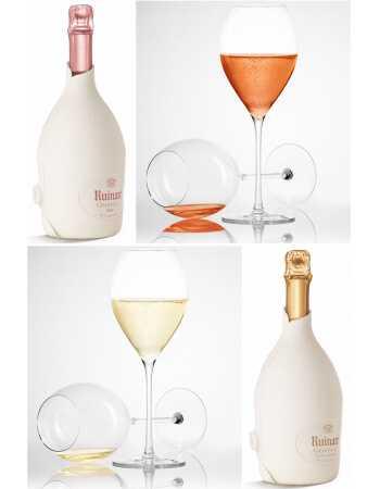 "Ruinart Set : 6 Gläser + Duo Second Skin ""Blanc de blancs & Rosé"" - 2 x 75 CL CHF258,00 product_reduction_percent Ruinart"