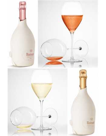 "Ruinart Set : 6 verres + Duo Second Skin ""Blanc de blancs & Rosé"" - 2 x 75 CL CHF 258,00 product_reduction_percent Ruinart"