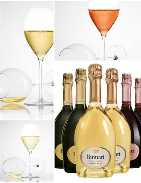 Ruinart Set : 6 verres + 6 bouteilles - 2 Rosé, 2 Blanc de blancs, 2 Brut - 6 x 75 CL CHF 513,80 product_reduction_percent Ru...